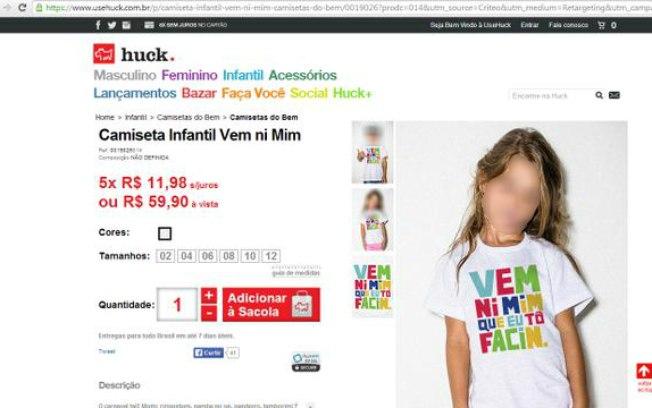 Camiseta da marca Huck: Vem, ni mim que tô facim