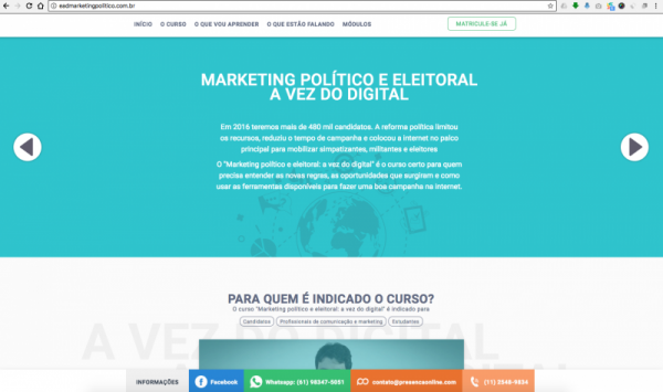 landing page marketing político