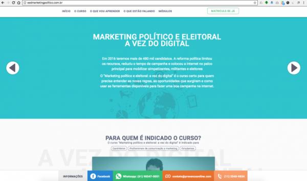 landing page marketing político